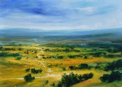 From Somewhere -British abstract landscape painting Contemporary art countryside