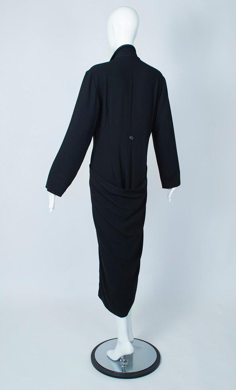 Women's Ivan Grundahl Black Avant Garde Wrapping Draped Trench Coat – Eu 40 (Med), 1990s For Sale