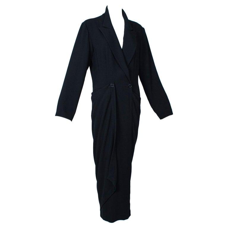 Ivan Grundahl Black Avant Garde Wrapping Draped Trench Coat – Eu 40 (Med), 1990s For Sale