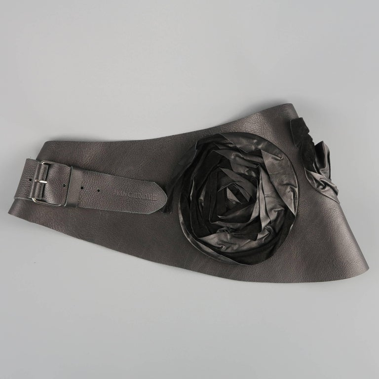 Women's IVAN GRUNDAHL Size M Black Leather Thick Suede Floral Belt For Sale
