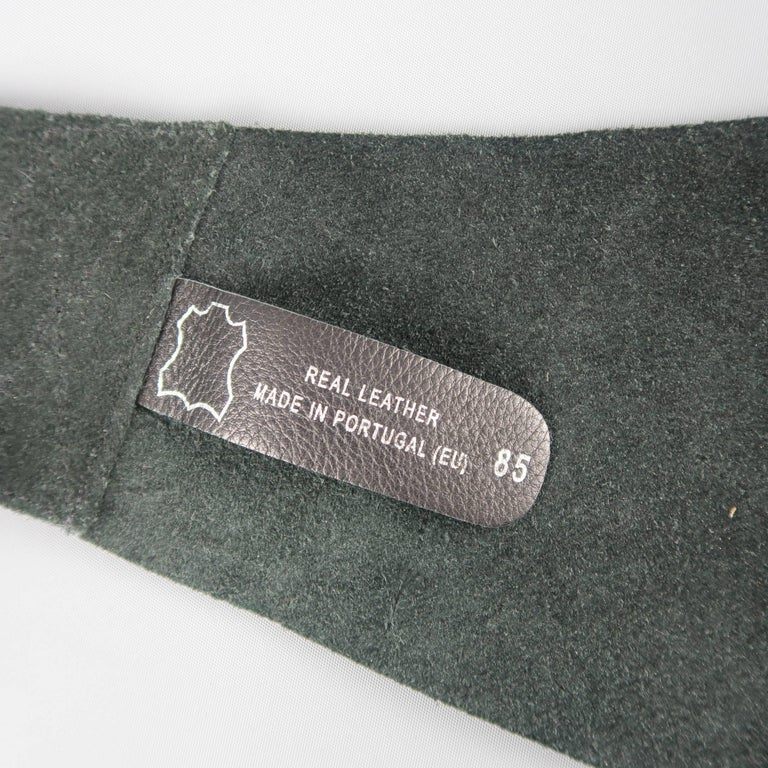 IVAN GRUNDAHL Size M Black Leather Thick Suede Floral Belt For Sale 4