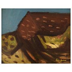 Ivan Jordell Sweden, Oil on Board, Modernist Landscape, Mid-20th Century