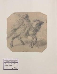 Soldier on horseback - Original Pencil Drawing by I. Kramskoi - 1970 ca.
