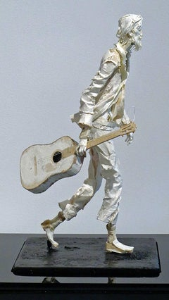 Jimmy - Handmade Paper Sculpture of a Street Musician with Guitar Walking