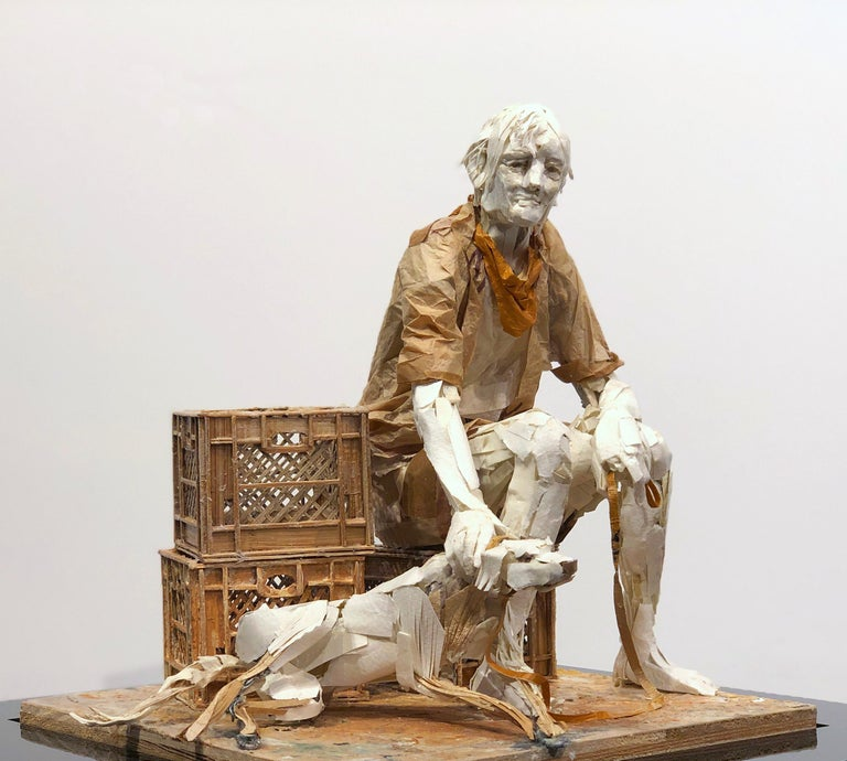 Man with Dog - Highly Detailed Sculpture Made of Paper, Glue, Wire, and Wood - Mixed Media Art by Ivan Markovic