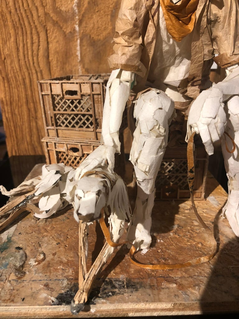 Man with Dog - Highly Detailed Sculpture Made of Paper, Glue, Wire, and Wood For Sale 1
