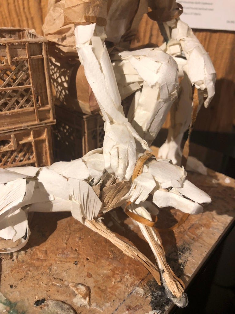 Man with Dog - Highly Detailed Sculpture Made of Paper, Glue, Wire, and Wood For Sale 2