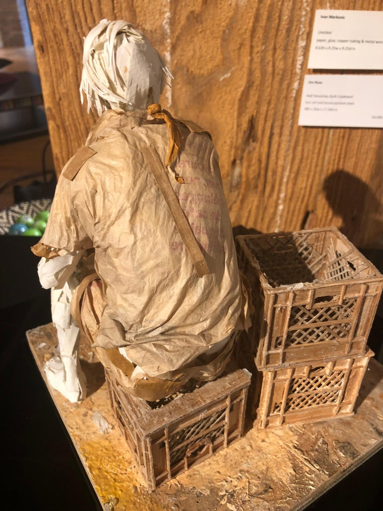 Man with Dog - Highly Detailed Sculpture Made of Paper, Glue, Wire, and Wood For Sale 4