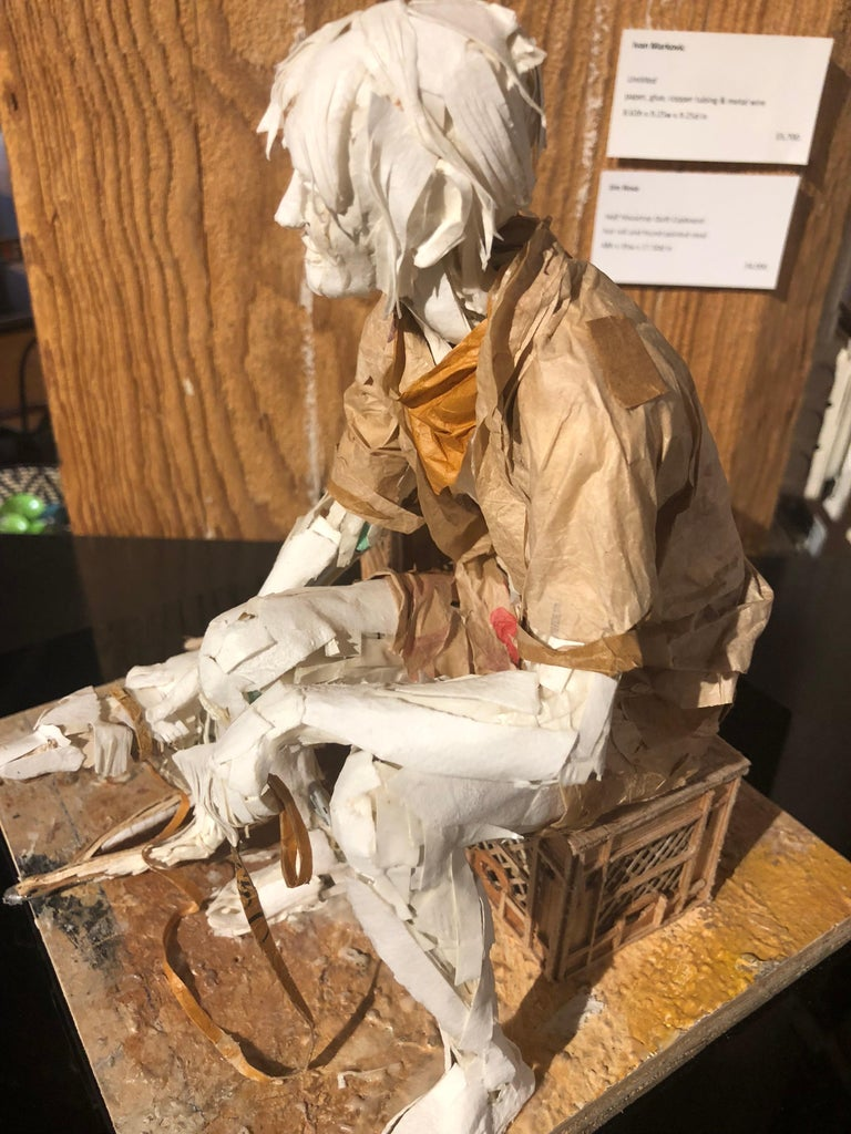Man with Dog - Highly Detailed Sculpture Made of Paper, Glue, Wire, and Wood For Sale 5