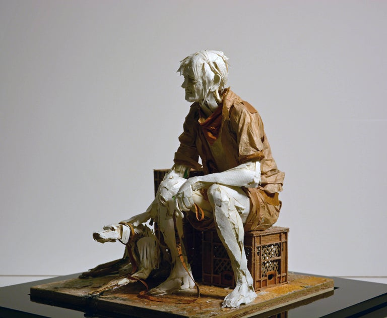 Man with Dog - Highly Detailed Sculpture Made of Paper, Glue, Wire, and Wood - Contemporary Mixed Media Art by Ivan Markovic