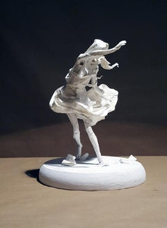 Windstorm - Paper Sculpture, Female Figure Swept Up in a Gust of Wind