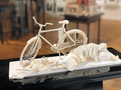 Nightfall - Highly Detailed Paper Sculpture of Sleeping Figure & Bicycle
