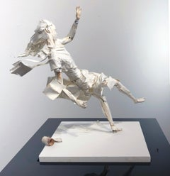 The East Wind Rises - Highly Detailed Paper Sculpture of Woman in a Wind Storm
