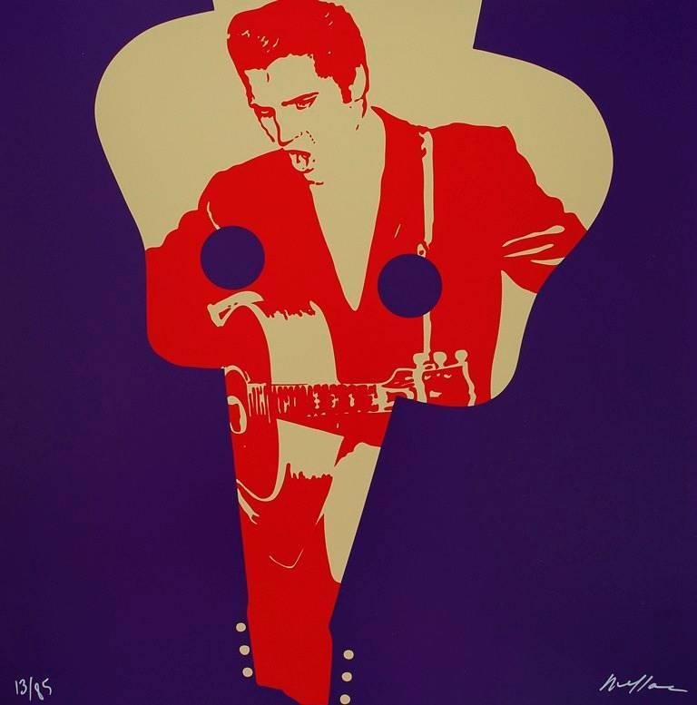 """Ivan Messac Portrait Print - Elvis Presley """"Always on my Mind"""" - Original handsigned silkscreen - 85 copies"""