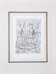 Abstract Composition - Original Etching on Paper by Ivan Mosca - 1949