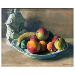 Ivan Olinsky, Still Life w/ Chinese Porcelain Figurine & Fruits, O/C Painting, C