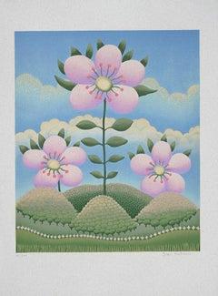 Fiore nel Paesaggio - Original Lithograph by Ivan Rabuzin - 1980s