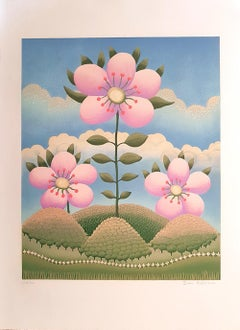 Flower in the Landscape - Original Screen Print by I. Rabuzin - 1980