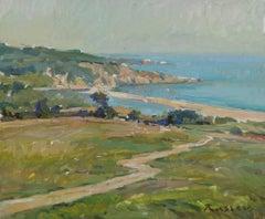 Our Last Summer In Sinemoretz - Landscape Painting Canvas Oil Green Blue Sands