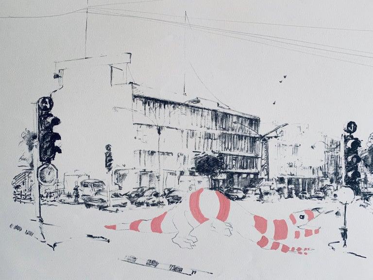 Artist: Schwebel, Ivan (Israeli 1932 - 2011)  Title: Kikar Maariv Dragon Slayer  Dimensions: 22.5 x 30 inches Signature: signed and dated Schwebel 75 lower Right Corner    Ivan Schwebel, Painter. Was born 1932, U.S.A. and immigrated to Israel 1963