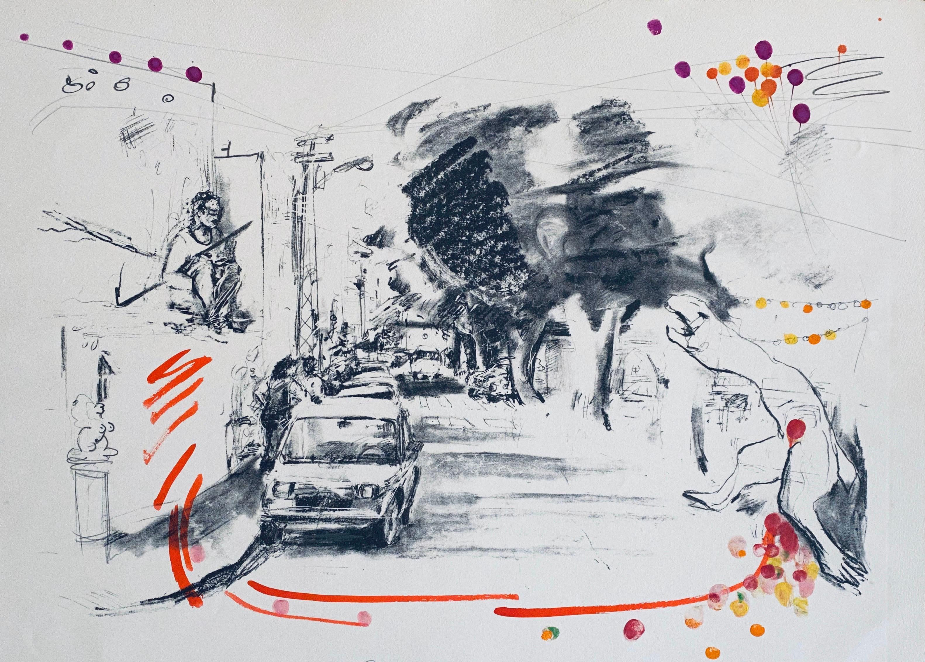 "Hand Painted Lithograph ""Tel Aviv Dragon Slayer"" Israeli American Bezalel School"