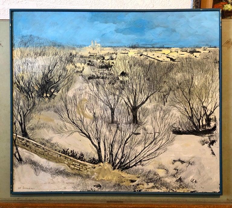 Jerusalem Modernist Landscape Oil Painting Israeli Bezalel Artist, Judaica Art For Sale 10