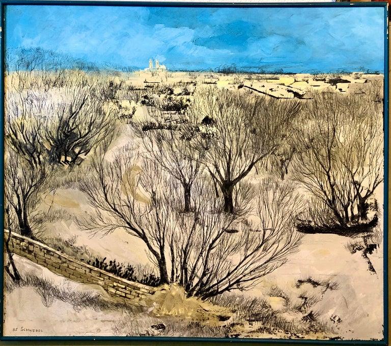 Jerusalem Modernist Landscape Oil Painting Israeli Bezalel Artist, Judaica Art - Gray Landscape Painting by Ivan Schwebel