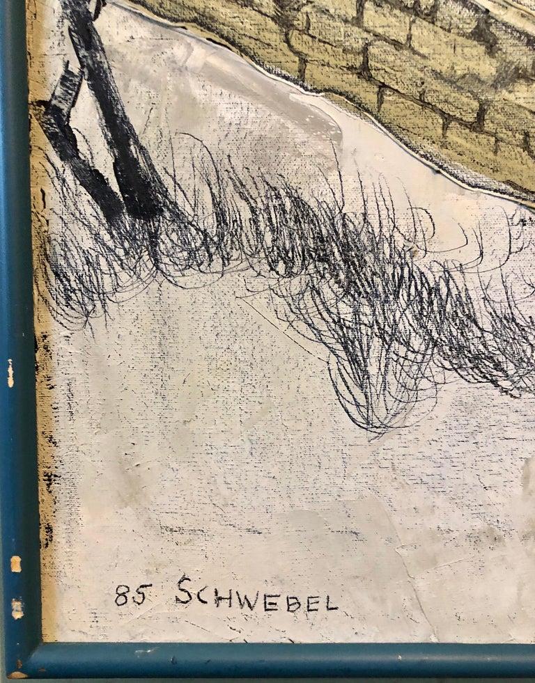 Ivan Schwebel, Israeli American (1932-2011) Oil on canvas. Painting of Winter Landscape. Signed Schwebel,  1985. Sight- L-27