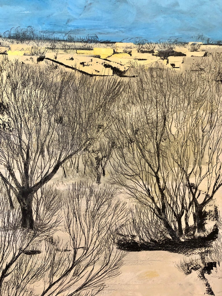 Jerusalem Modernist Landscape Oil Painting Israeli Bezalel Artist, Judaica Art For Sale 1