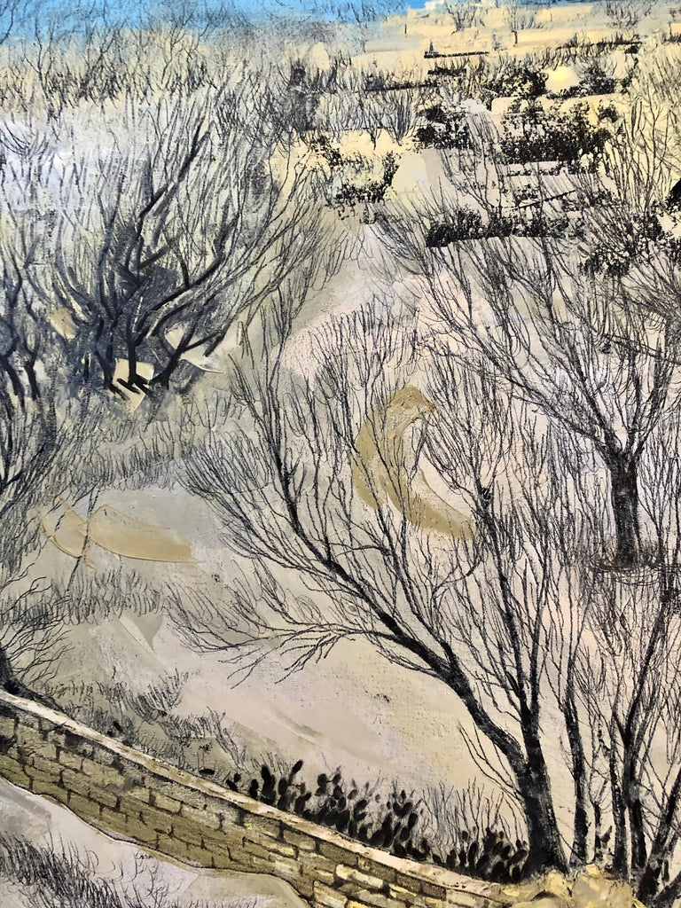 Jerusalem Modernist Landscape Oil Painting Israeli Bezalel Artist, Judaica Art For Sale 2