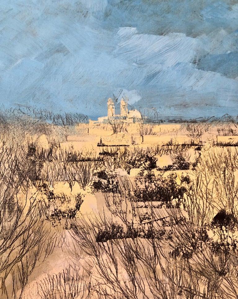 Jerusalem Modernist Landscape Oil Painting Israeli Bezalel Artist, Judaica Art For Sale 6