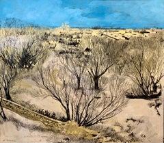 Jerusalem Modernist Landscape Oil Painting Israeli Bezalel Artist, Judaica Art