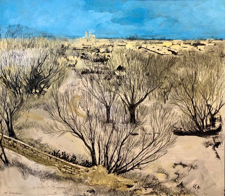 Ivan Schwebel Landscape Painting - Jerusalem Modernist Landscape Oil Painting Israeli Bezalel Artist, Judaica Art