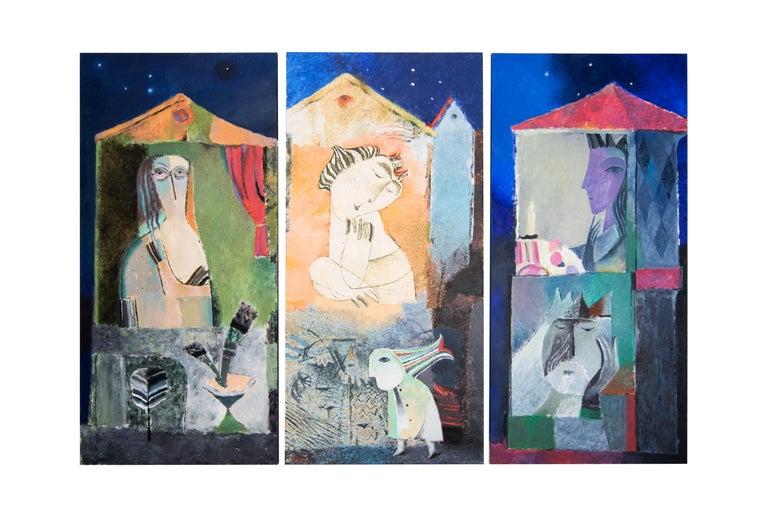 Belarusian Ivan Semiletov Evening City Oil on Canvas For Sale
