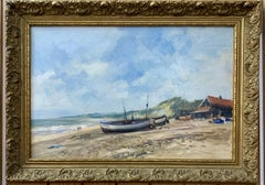 English Impressionist beach, shore scene with fishing boats, huts and landscape