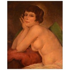 Ivan Thiele, Russia, Oil on Board, Naked Woman Posing, circa 1920
