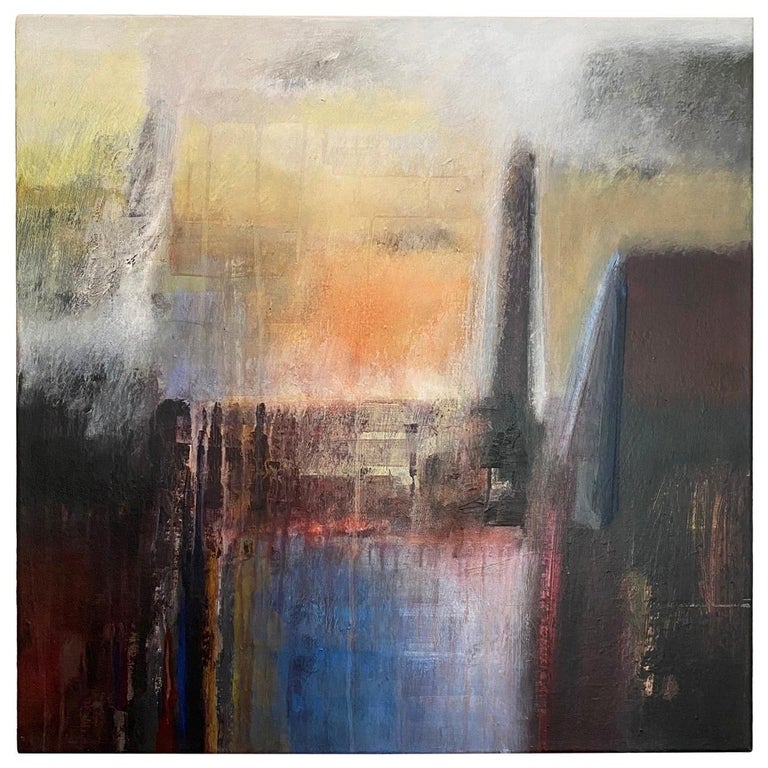 """Ivanilde Brunow Abstract Painting """"Paris at Dusk"""" For Sale"""