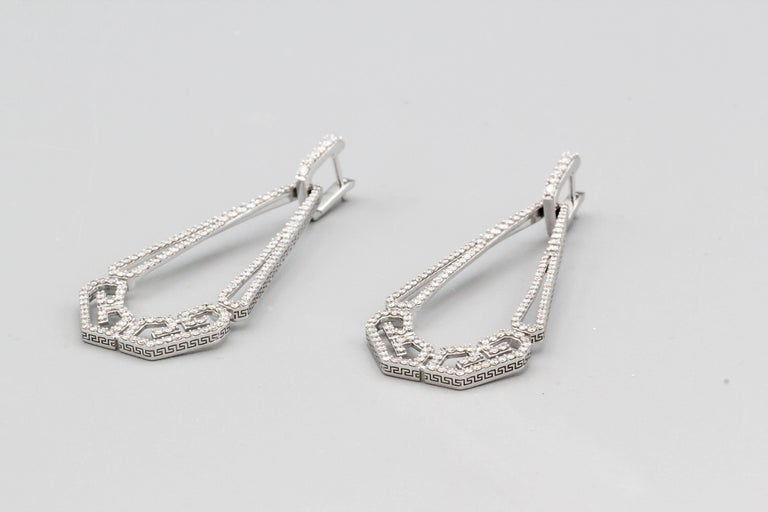Round Cut Ivanka Trump Diamond and 18 Karat White Gold Drop Earrings For Sale