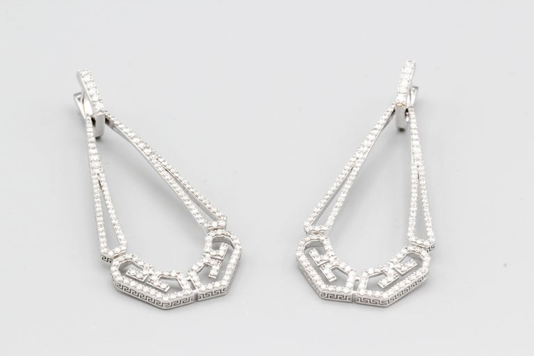 Ivanka Trump Diamond and 18 Karat White Gold Drop Earrings For Sale 3