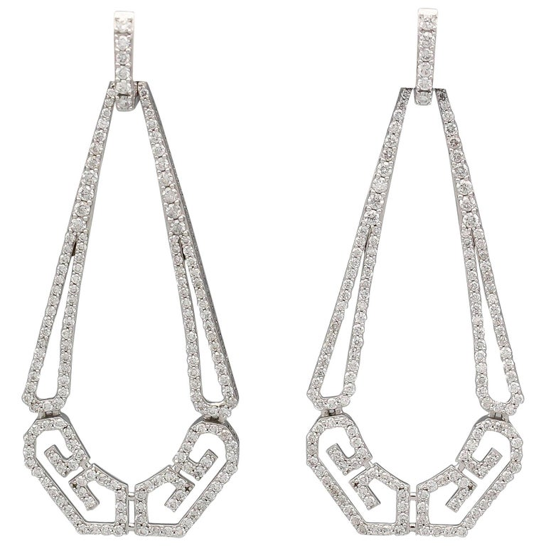 Ivanka Trump Diamond and 18 Karat White Gold Drop Earrings For Sale