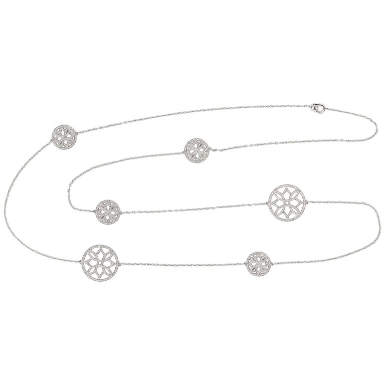 Ivanka Trump Diamond and White Gold Long Necklace For Sale