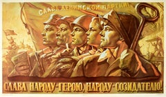 Original Vintage Soviet Poster Glory To The Heroes Workers Military People USSR