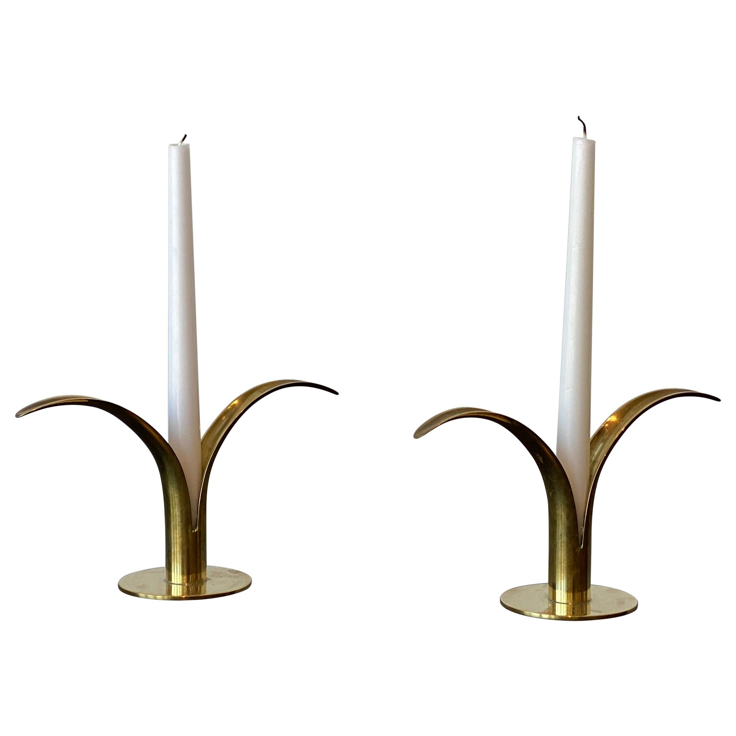 Ivar Åhlenius Björk, Liljan Candlesticks, Ystad Metall, Brass, Sweden, 1950s