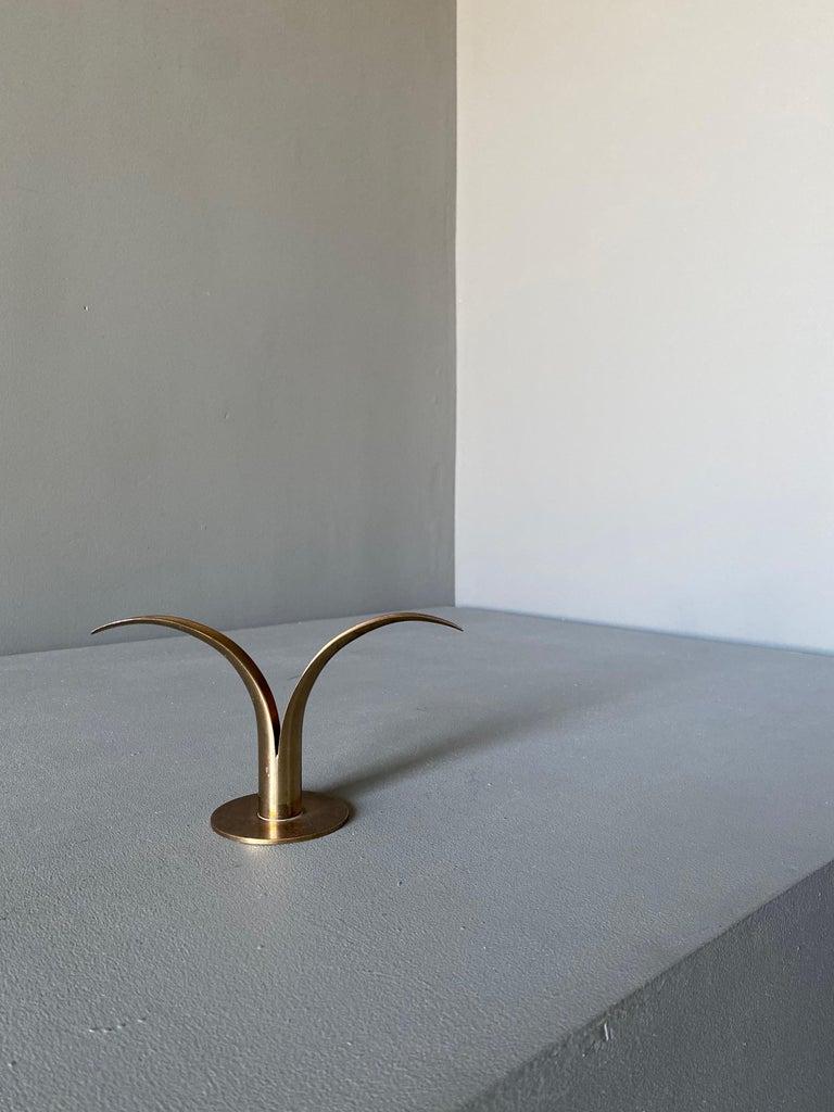Ivar Ålenius Björk Brass Candleholder for Ystad Metall In Good Condition For Sale In Costa Mesa, CA