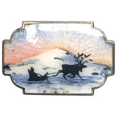 Ivar T. Holth Oslo Norway Sterling Silver Enamel Reindeer and Sleigh Brooch
