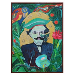"""Homage to Rousseau"" Tropical Impressionist Portrait Painting"