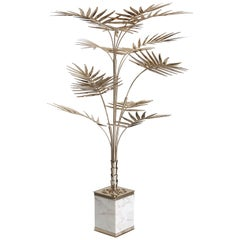 Ivete Palm Tree Floor Lamp in Brass with Marble Base by Essential Home
