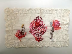 Across the Room - love narrative embroidery with couple on beige vintage fabric