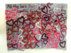 All the Love - love narrative embroidery white and pink on grey vintage fabric