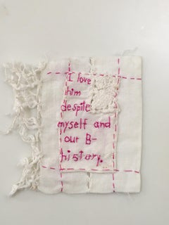 B- Story - love narrative embroidery pink thread on white vintage fabric
